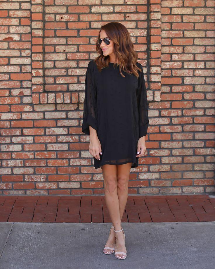Valerie Embroidered Shift Dress - Black