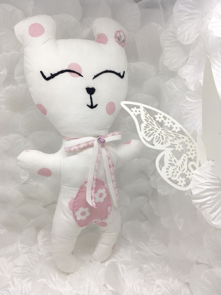 White cotton bear with crystal elements