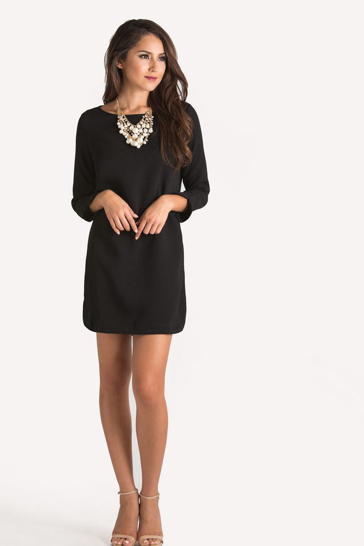 Black dress red heels accessories - Christina Black Long Sleeve Shift Dress