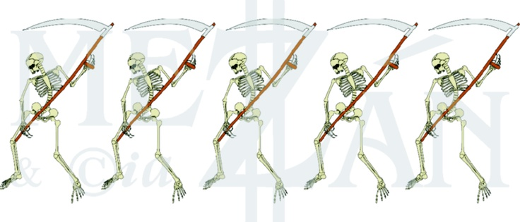 Five skeletons in a row