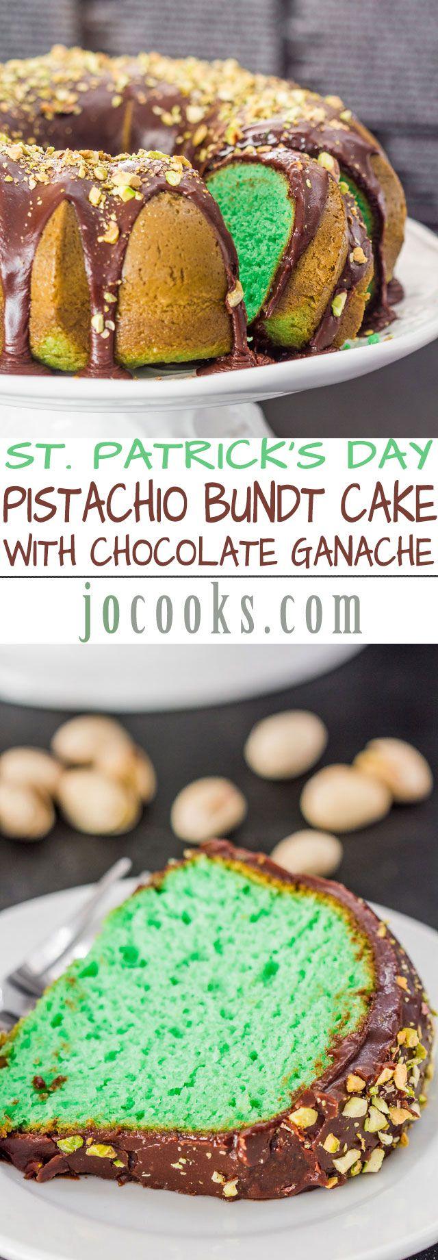 Pistachio Bundt Cake with Chocolate Ganache