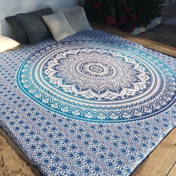 Bohemian tapestry mandala bed throw in uplifting ocean blue  & white by AUROBELLE on Etsy https://www.etsy.com/listing/255569983/bohemian-tapestry-mandala-bed-throw-in