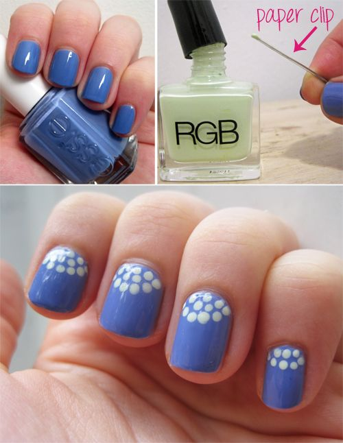 Blue Half Moon Polka Dot Nails