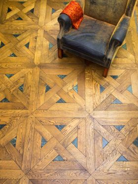 LOVELY parquet that so closely mirrors our foyer's; a  possible for the upper landing if we decide against herringbone