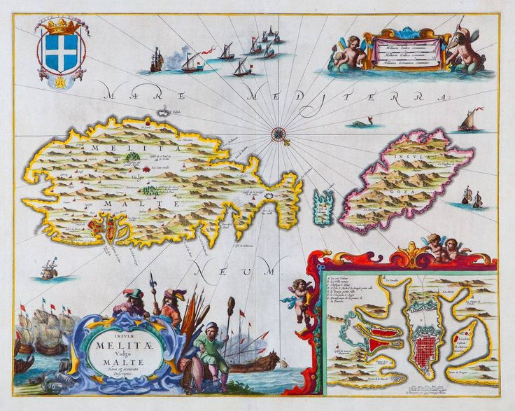 """May 4, #MaltaMapMonday brings us another beautiful 17th century map of Malta with an inset map of Valletta and harbors. The main title, """"Insulae Melitae vulgo Malte Nova et accurate descriptio"""" is in the cartouche. Map is from Jannson's """"Atlas Novus"""" published in Amsterdam, c. 1650."""
