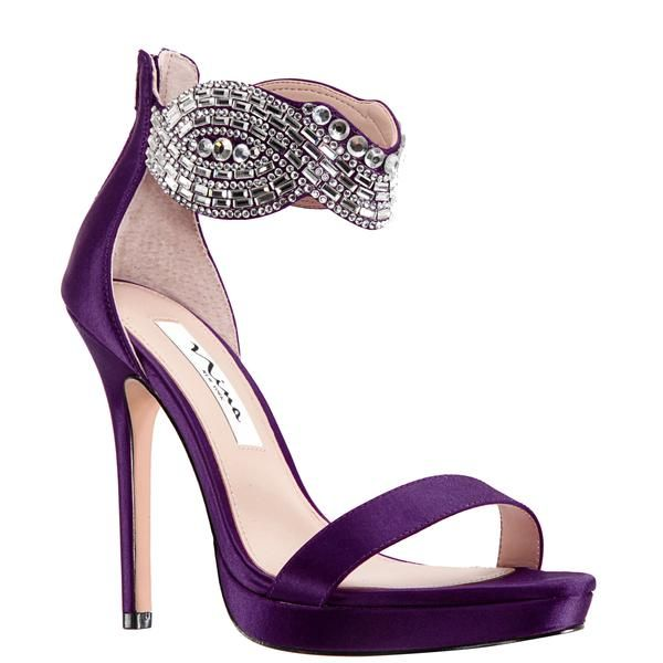 Fayth Eggplant Satin Women Shoes Heels Holiday Shoes