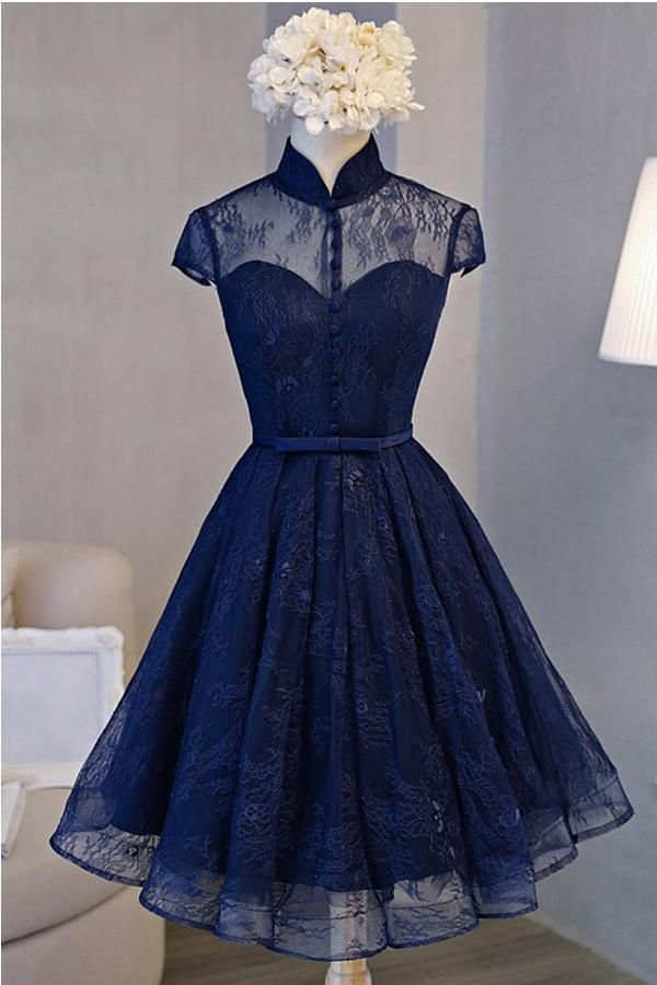 6a9046772bd A Line Navy Blue Short High Neck Lace Open Back Cap Sleeve Mini Lace-up  Homecoming Dresses PH588