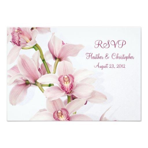 Pink Cymbidium Orchid Wedding Reply RSVP Card Invitations