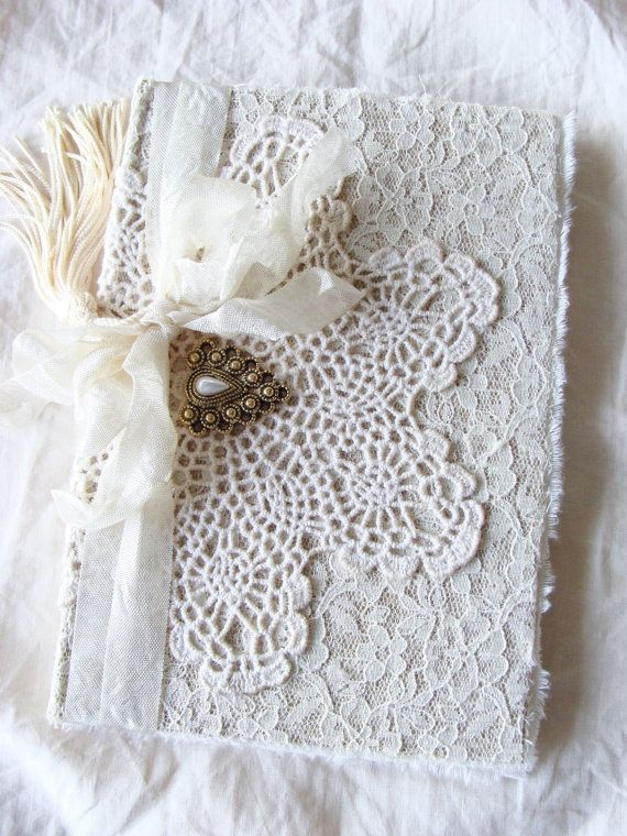Vintage Doily and Lace Journal Diary Notebook Wedding Memory Book Guestbook Giftbook Mother Bride Bridesmaid Baby Gratitude Prayer Journal