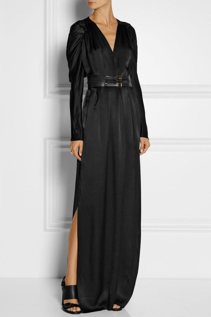 Maiyet - Belted Silk Satin Gown Black maxi dress