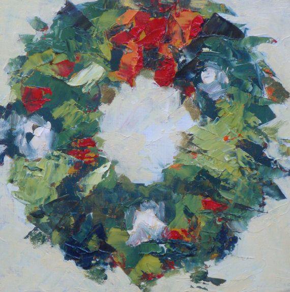 Still Life Oil Painting Christmas Wreath 6 X 6