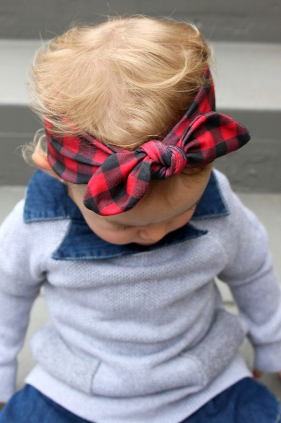 Buffalo Plaid  Knot Headband  Tie Headband  by harperandpaisley this is so cute I want it for myself!