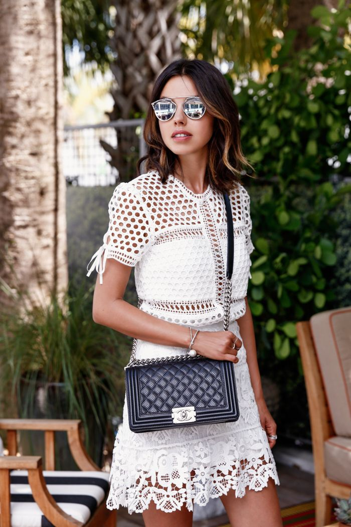 VivaLuxury - Fashion Blog by Annabelle Fleur: MIAMI SWIM WEEK WITH TRESemmé - SELF-PORTRAIT Macrame lace top & guipure lace mini skirt | DIOR So Real 48mm sunglasses | AQUAZZURA Amazon lace up sandals July 22, 2015