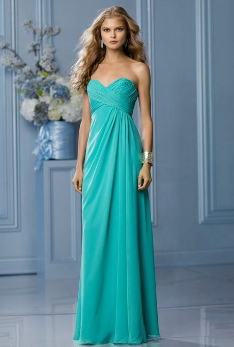 Brides: Wtoo. Mermaid crystal chiffon strapless sweetheart neckline with criss-cross shirred bodice. Side draped slim floor length A-line skirt.