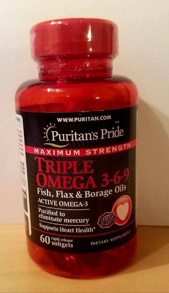 Maximum Strength Triple Omega 3 6 9 Fish Flax Borage Oils 60 Softgels 12 2020 Puritanspride Borage Oil Borage Omega Oils