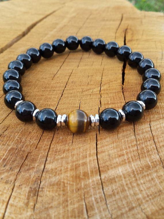 Mens Bracelet, Men Black Onyx Tiger Eye Bracelet, Gemstones Bracelet, Protection…