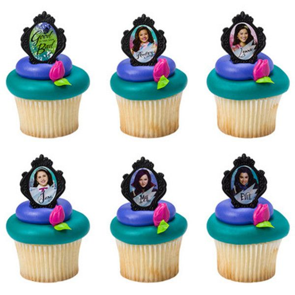 Descendants Cupcake Rings!  Pop Mal, Evie, Audrey and all the gals on your cupcakes or use them as party favors!  So cute!