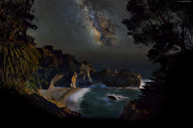 Wybrzeże, Zatoka, Noc, Niebo, Droga mleczna