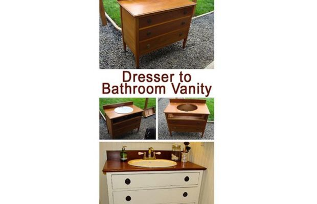 Converting Dresser to Bathroom Vanity | 25 Life Hacks for Small Apartments