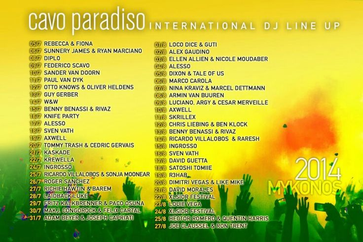 Cavo Paradiso line-up 2014