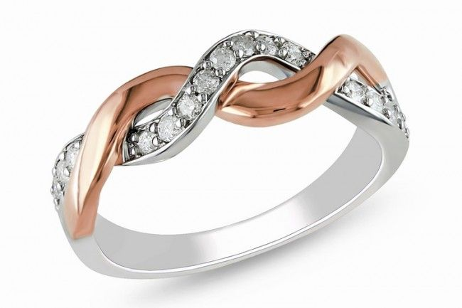 White & Rose Gold on Silver Two Tone Ring
