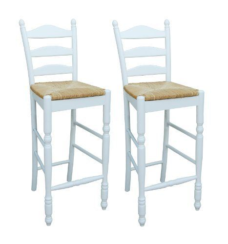 TMS 30 Inch Ladder Back Stool, White, Set Of 2 By TMS.