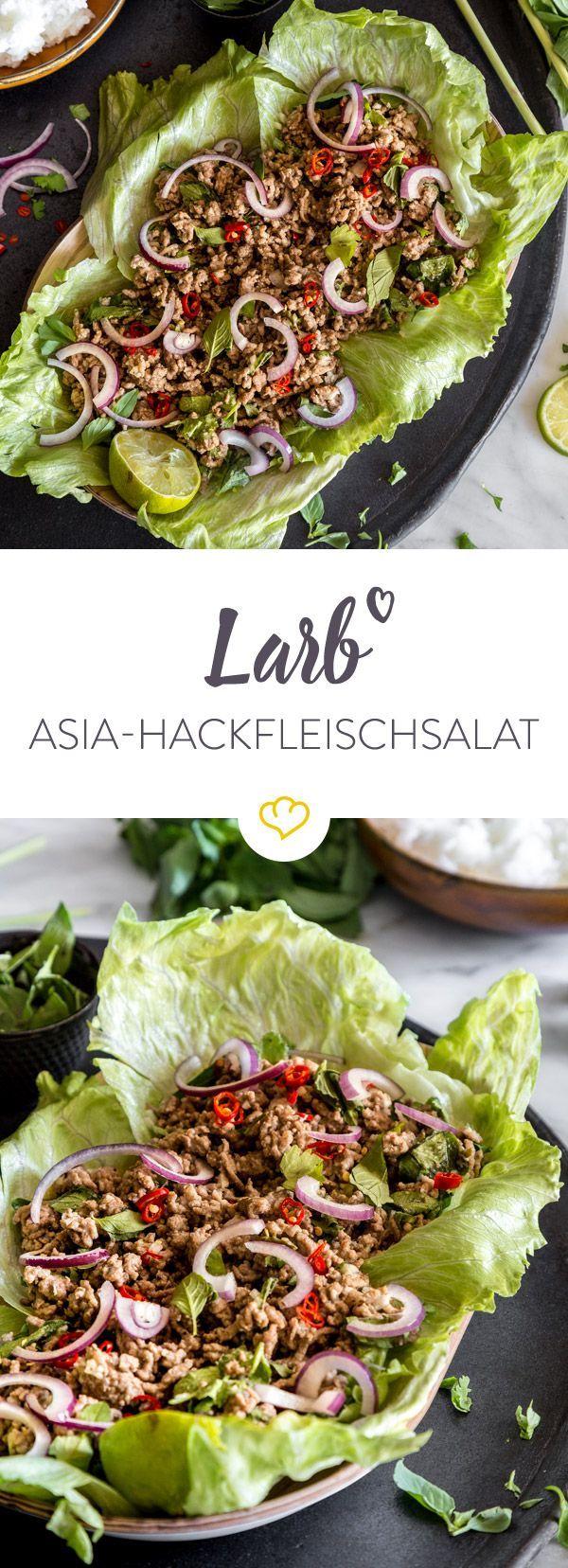 Laotisches Nationalgericht: lauwarmer Fleischsalat mit Koriander, Limette, Chili und Thai-Basilikum. Dazu gibt es köstlichen Klebereis.