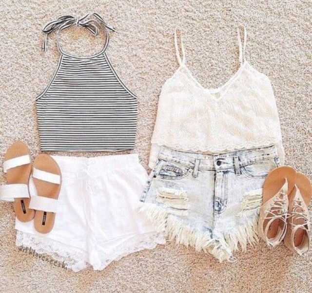 Love these crop tops paired with simple cut off shorts!