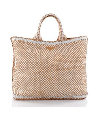 7e778811b3f5 PRADA PRE-OWNED  OPEN TOTE MADRAS WOVEN LEATHER LARGE.  prada  bags   leather  hand bags  tote