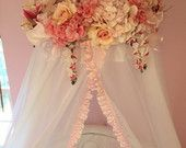 Items similar to Handmade Floral Baby Crib Canopy on Etsy