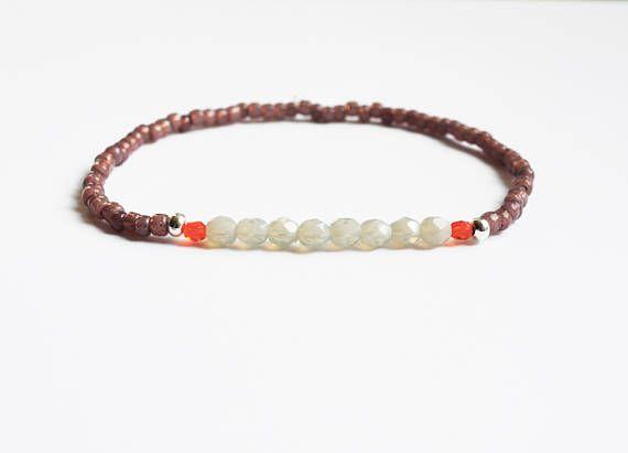 Opaal grijs, oranje & nootmuskaat armband - Boheemse juwelen - Boho sieraden - zomer armband - vriendschap armband
