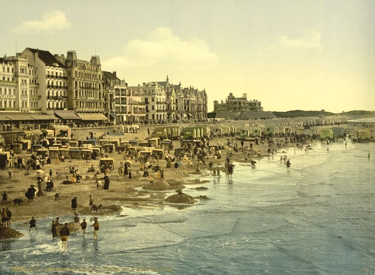 The beach at high water (ca. 1895), Oostende, Belgium From the Detroit Publishing Co. Collection at the U.S. Library of Congress. Date	c. 1890s	Detroit Publishing Company photo via Library of Congress_. More postcards from Belgium - More photochrom postcards [PD] This picture is in the public domain