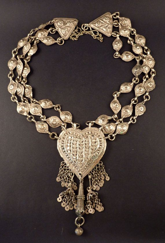 Old silver Kashmiri necklace India Kashmir by ethnicadornment
