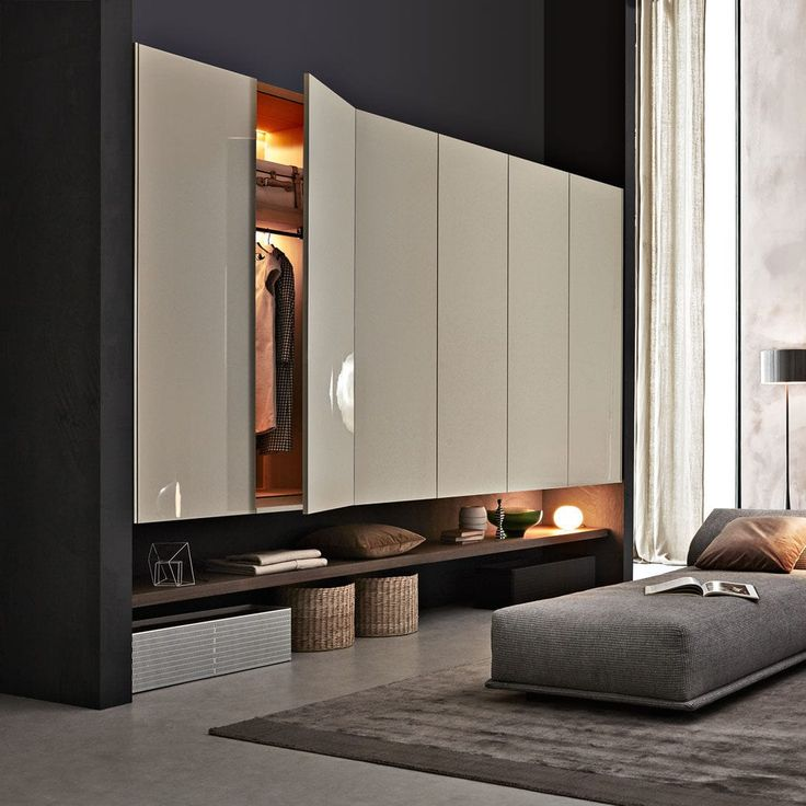 Wall-mounted walk-in wardrobe / contemporary / wooden / with hinged door GLISS-UP Molteni & C