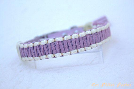 Collier pour chien réglable Le Classique violet et jaune pâle