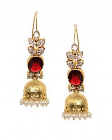 Hoop Earrings with Ruby Crystal Quartz