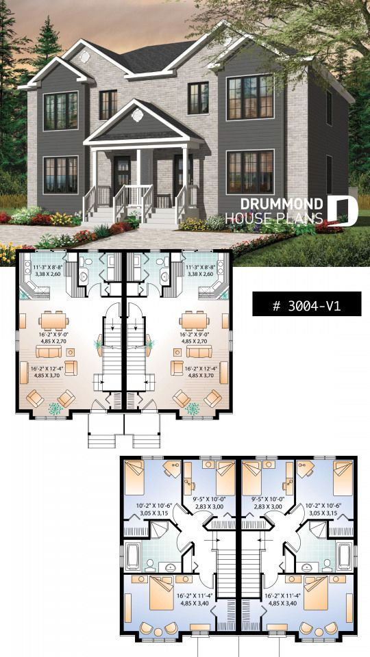 Country Style Semi Detached With 3 Bedroom Units On Two Floors Builder Homeplan Houseplan Mutlifam Planos De Casas Disenos De Casas Casas Rusticas Modernas