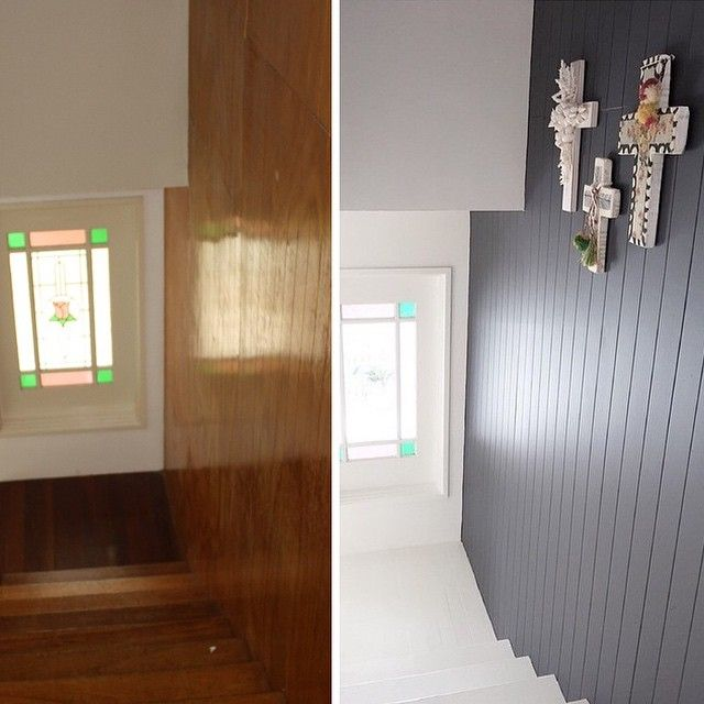 [ BEFORE & AFTER staircase ] One word.... Paint  @taubmans…