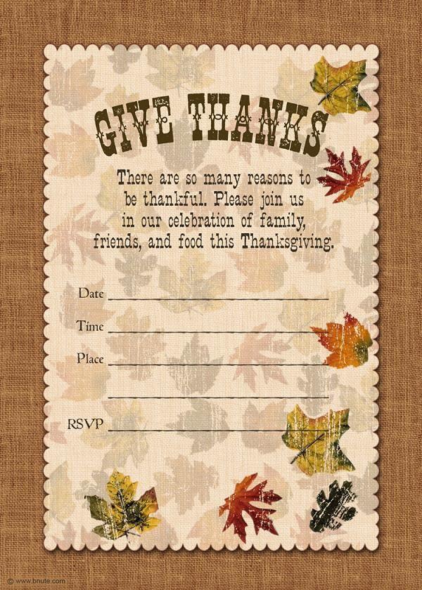 Best  Thanksgiving Invitation Ideas On