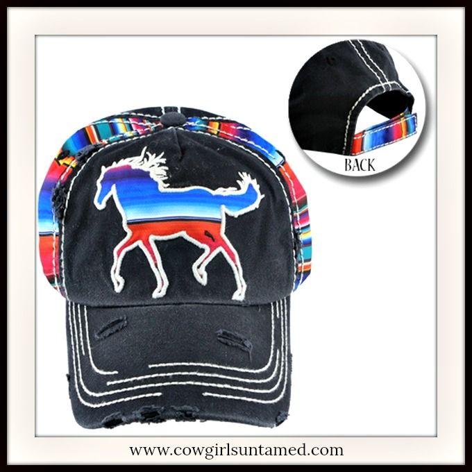 NEW COWGIRL STYLE CAP Serape Horse on Black Distressed Cap Hat  #cap #hat #cowgirl #ladies #women #horse #equine #distressed #serape #southwestern #western #equestrian