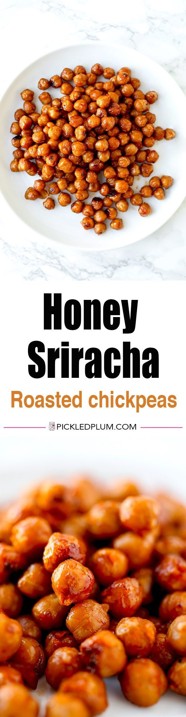 Honey Sriracha Roasted Chickpeas - These spicy sweet roasted chickpeas are the perfect mid afternoon pick me up or healthy low fat snack! healthy snack recipes, healthy snacks easy, snack ideas, vegetarian snack recipes | pickledplum.com