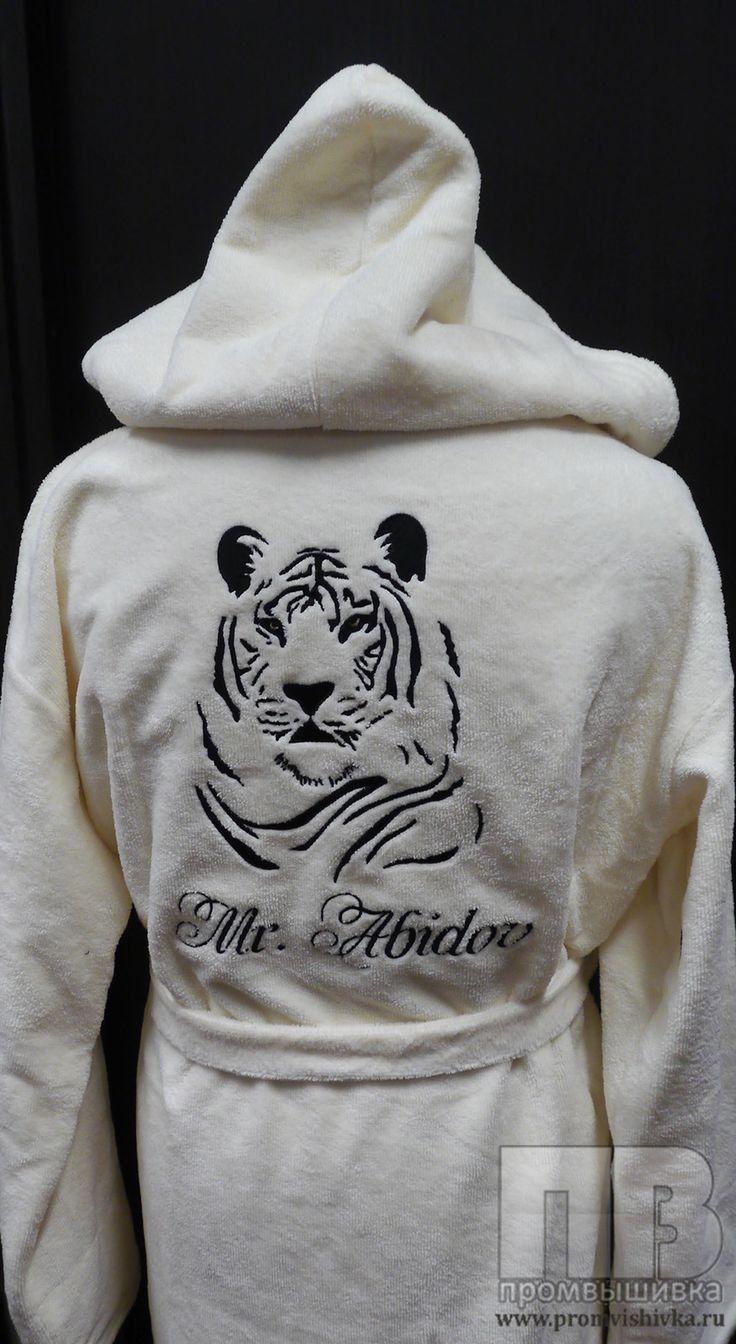 Вышивка тигра на спине халата