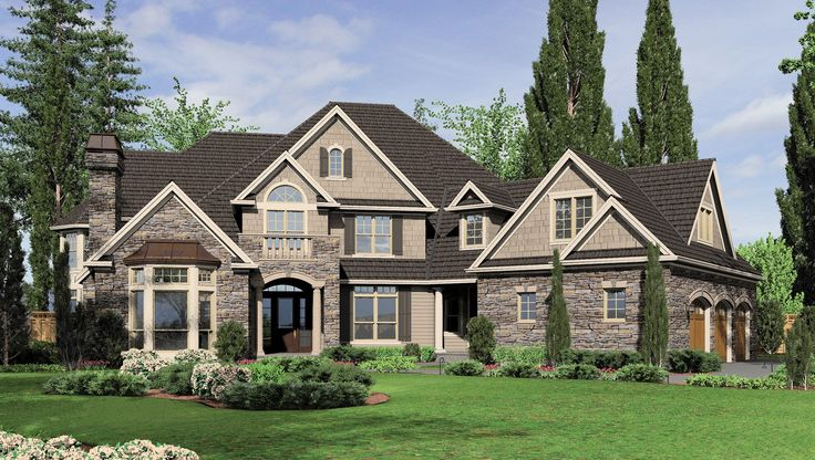 Front Rendering -Large European Country Design with Angled Garage. Plan 2449 The Hallsville is a 6775 SqFt European, French Country style home plan featuring Covered Patio, Den, Hobby Room, Jack & Jill Bathroom, Mud Room , Outdoor Kitchen, Second Master Bedroom, Skylights, Walk-In Pantry, and Wine Cellar by Alan Mascord Design Associates. View our entire house plan collection on Houseplans.co.