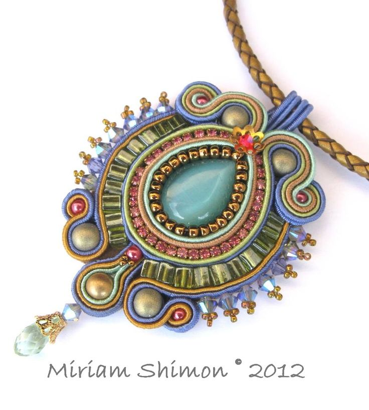 Blue soutache pendant with green, pink and gold