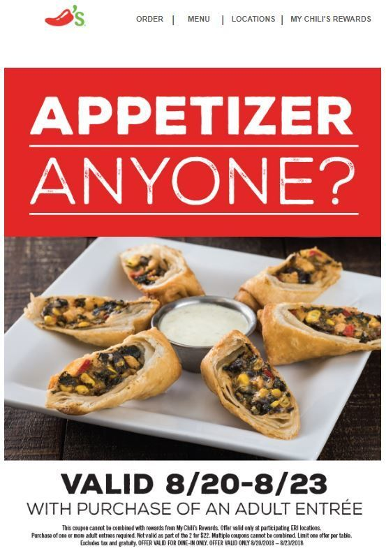 photograph about Chilis Menu Printable known as Chilis Coupon: Absolutely free Appetizer With Entree Invest in