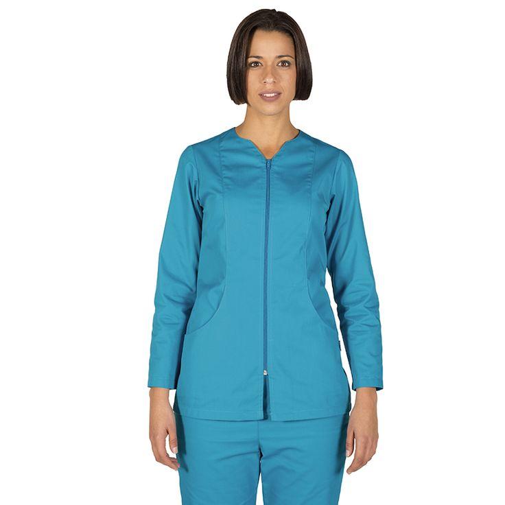 6236 blusa mujer con cremallera y manga larga en color turquesa