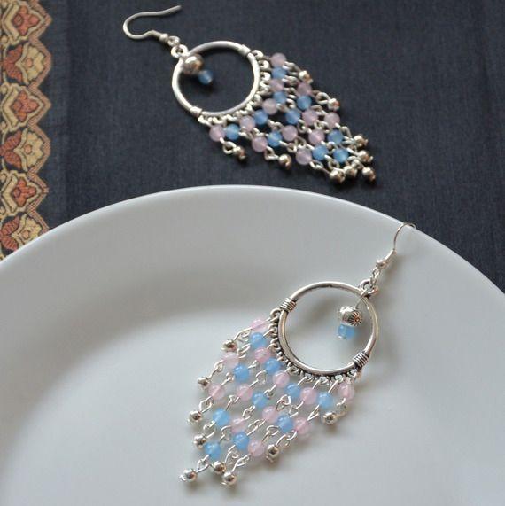 Boucles d\u0027oreilles chandeliers 2016 PANTONE en rose quartz ARGENTE, bijoux  argente en pierres