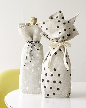 Gift wrap a bottle of wine with a tea towel