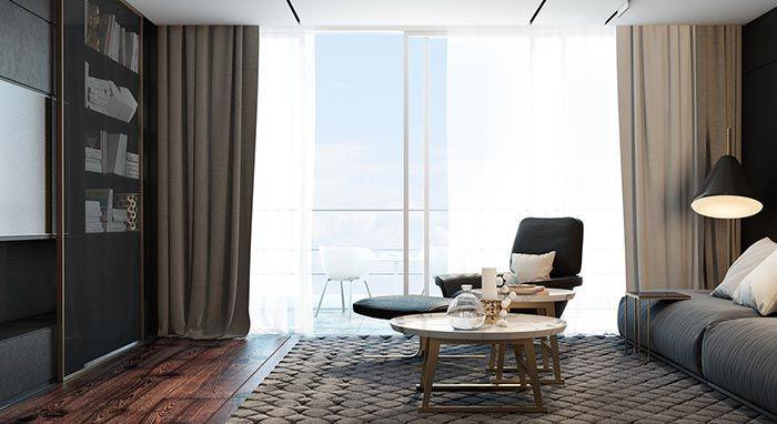 siyah oturma odası büyük pencere