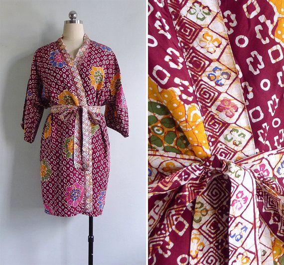 Vintage 80's Batik Tie Dye Rayon Dressing Gown Kimono Robe XS S M L